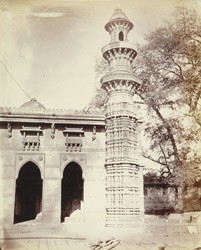 North minaret of Muhafiz Khan's Mosque, during restoration, Ahmadabad